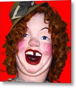 Portrait Of Laffing Sal - Square - 7d14361 - Red Metal Print by Wingsdomain Art and Photography