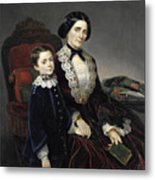 Portrait Of Mother And Son Metal Print