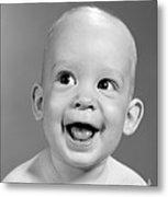 Portrait Of Nearly Bald Baby, C.1960s Metal Print