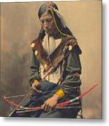 Portrait Of Oglala Sioux Council Chief Bone Necklace Metal Print