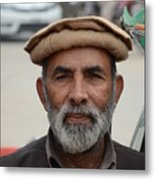 Portrait Of Pathan Tuk Tuk Rickshaw Driver Peshawar Pakistan Metal Print