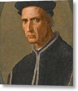 Portrait Of Piero Soderini Half Length Wearing A Black Coat And A Black Hat Metal Print