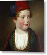 Portrait Of Prince Victor Odescalchi  In Greek Costume At The Age Of Five Metal Print