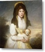 Portrait Of Queen Charlotte Three-quarter Length In A White Dress A Yellow Shawl And Black Mantilla Holding A Maltese Dog Sir Henry William Beechey Metal Print