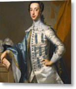Portrait Of Sir James Lowther 1st Earl Of Lonsdale Three Quarter Length Holding A Mask In His Right  Metal Print
