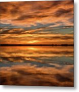 Portrait Of Sunrise Reflections On The Great Plains Metal Print