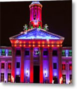 Portrait Of The Denver City And County Building During The Holidays Metal Print