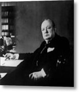 Portrait Of Winston Churchill  Metal Print