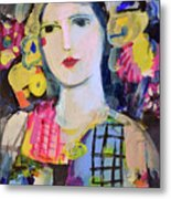 Portrait Of Woman With Flowers Metal Print