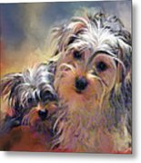 Portrait Of Yorkshire Terrier Puppy Dogs Metal Print