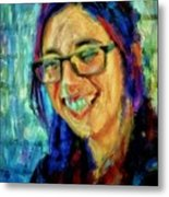 Portrait Painting In Acrylic Paint Of A Young Fresh Girl With Colorful Hair In A Library With Books  Metal Print