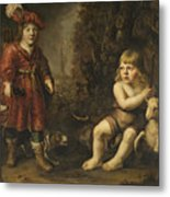 Portraits Of Two Boys In A Landscape One Dressed As A Hunter The Other St As John The Baptist Metal Print