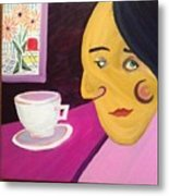 Portrat With Cup And Flowers Metal Print