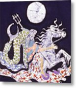 Poseidon Rides The Sea On A Moonlight Night Metal Print by Carol  Law Conklin