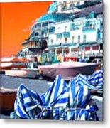 Positano Beach Pop Art Metal Print