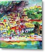 Amalfi Coast Positano Summer Fun Watercolor Painting Metal Print