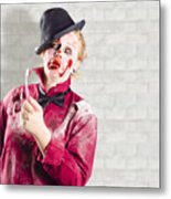 Possessed Girl With Bloody Toothbrush. Gum Disease Metal Print
