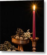 Post Card With Traditional Copper Dishes And Red Candle Metal Print