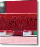 Post Office Arrowed Direction Red Sign On Top Of Post Box Metal Print