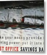 Post Office Savings Bank - Steamliner - Retro Travel Poster - Vintage Poster Metal Print