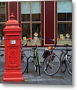 Postbox And Bicycles In Front Of The Diamond Museum In Bruges Metal Print