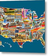 Postcards Of The United States Vintage Usa All 50 States Map Metal Print