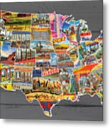 Postcards Of The United States Vintage Usa Lower 48 Map On Gray Wood Background Metal Print