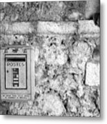 Postes In Black And White Metal Print