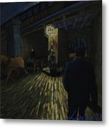 Postman Walks Over The Bridge Metal Print