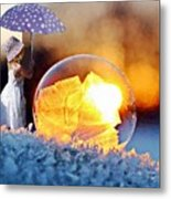 Girl With Umbrella Metal Print