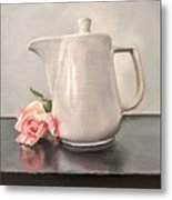 Pot Of Coffee And A Paper Rose Metal Print