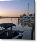 Potomac River At Sunrise Belle Haven Marina Alexandria Virginia Metal Print by Brendan Reals