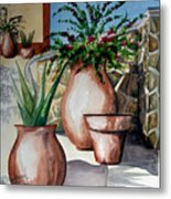 Pots And Bougainvillea Metal Print