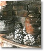 Pots Of A Fireplace Metal Print