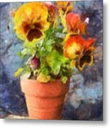 Potted Pansy Pencil Metal Print