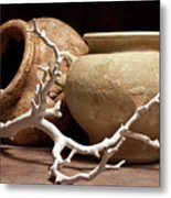 Pottery With Branch II Metal Print