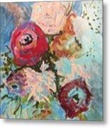 Powder Blue Roses Metal Print