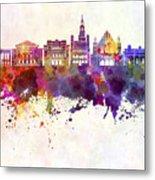 Poznan Skyline In Watercolor Background Metal Print