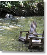 pr 165 - Chairs In The River Metal Print