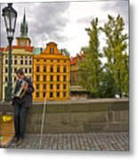 Prague Accordian Player On Charles Bridge Metal Print