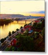 Prague At Sundown Metal Print