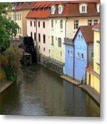 Prague Canal Mill Metal Print