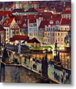 Prague Charles Bridge With The Prague Castle Metal Print