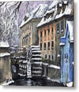 Prague Chertovka Winter Metal Print