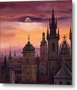 Prague City Of Hundres Spiers Metal Print