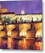Prague Night Panorama Charles Bridge  Metal Print