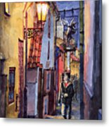 Prague Old Street Golden Line Metal Print