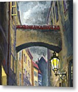 Prague Old Street Love Story Metal Print