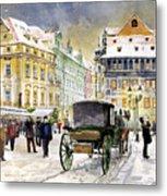 Prague Old Town Square Winter Metal Print by Yuriy  Shevchuk
