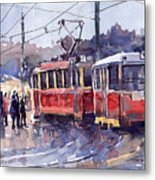 Prague Old Tram 01 Metal Print